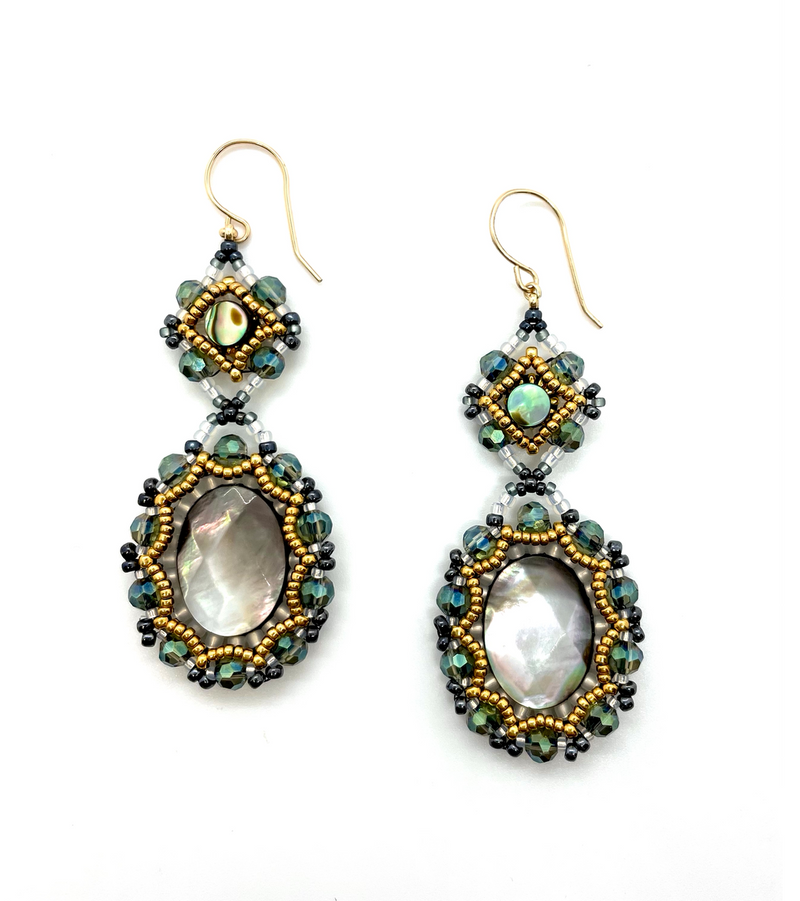 Long Abalone and Gold Drop Earrings