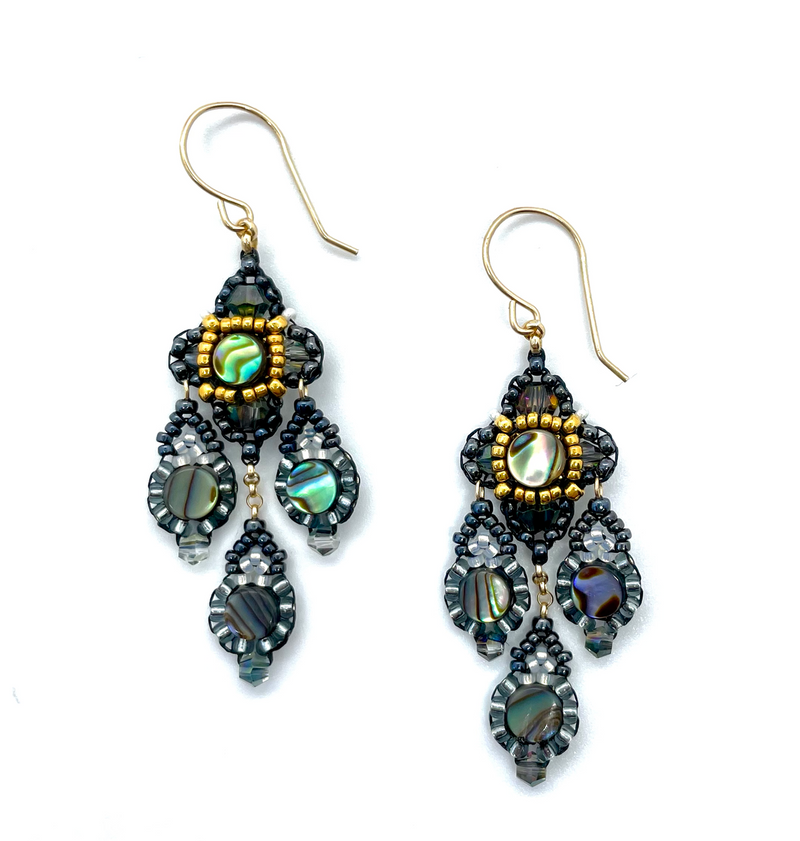 Abalone and Gold Clover Multi Drop Earrings