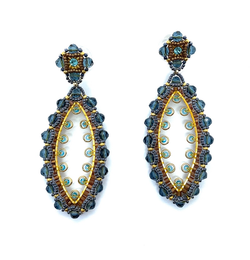 Blue and Apatite Marquis Drop Earrings