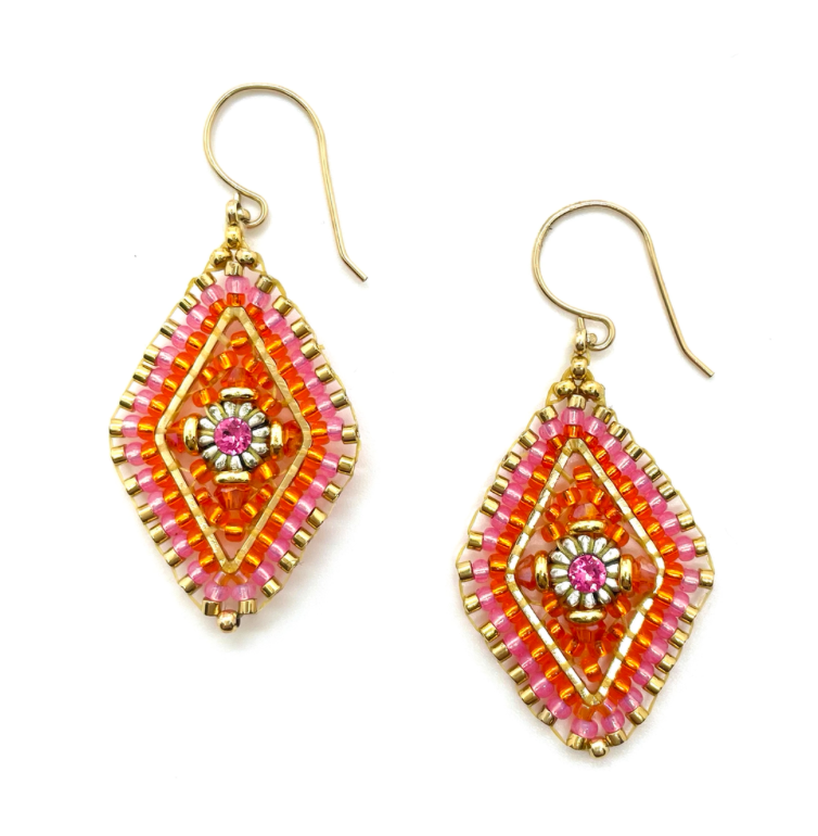 Hot Pink and Orange Marquis Drop Earring