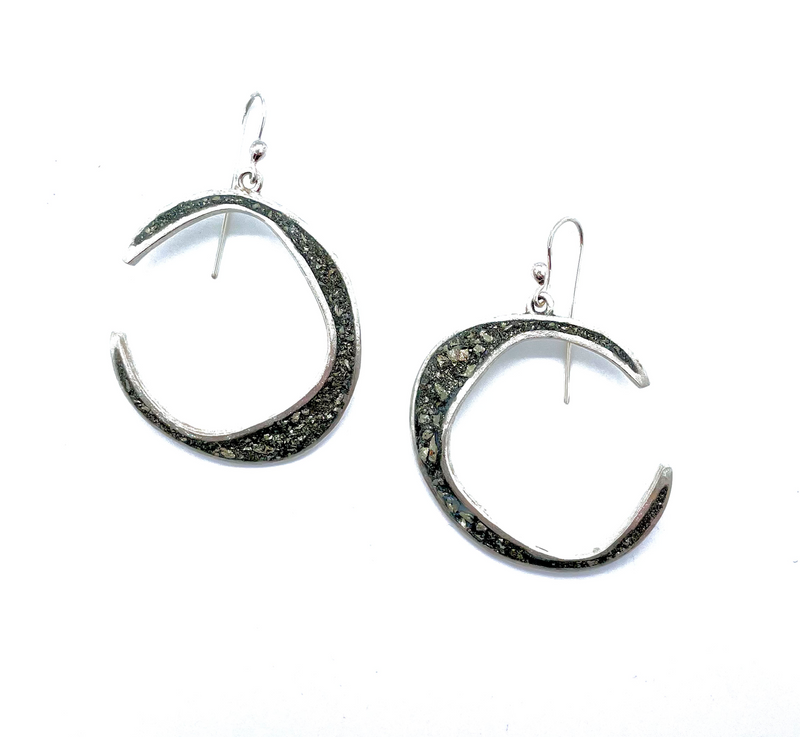 Crescent Moon Pyrite Earrings