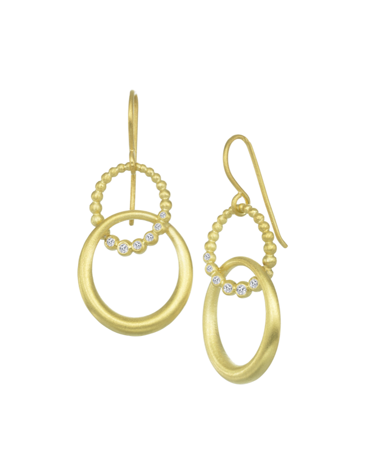 Double Oval Drop Earrings with Diamonds