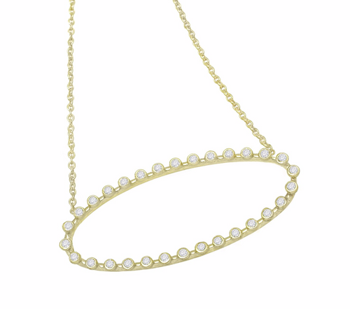Oval Diamond-Studded Necklace