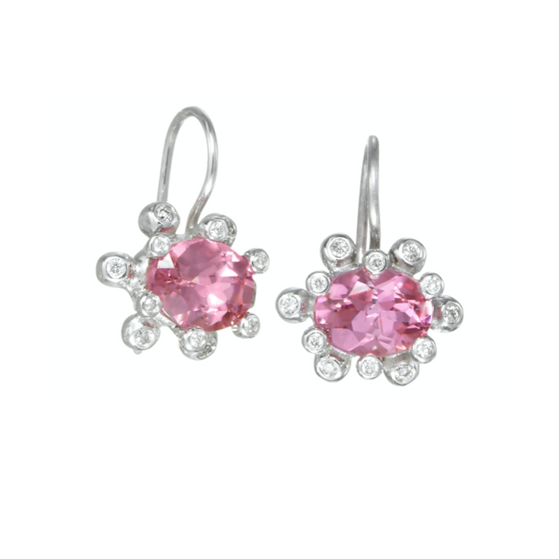 "Pink Tourmaline ""Daisy"" Drop Earrings"