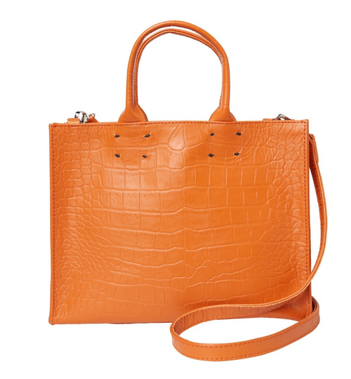Adelaide Orange Croc Handbag