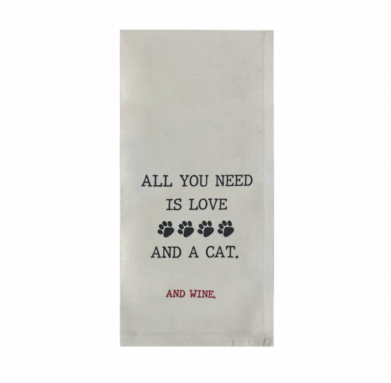 Love Cat Wine Flour Sack Towel