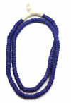 African Trade Beads Necklace in Cobalt Blue