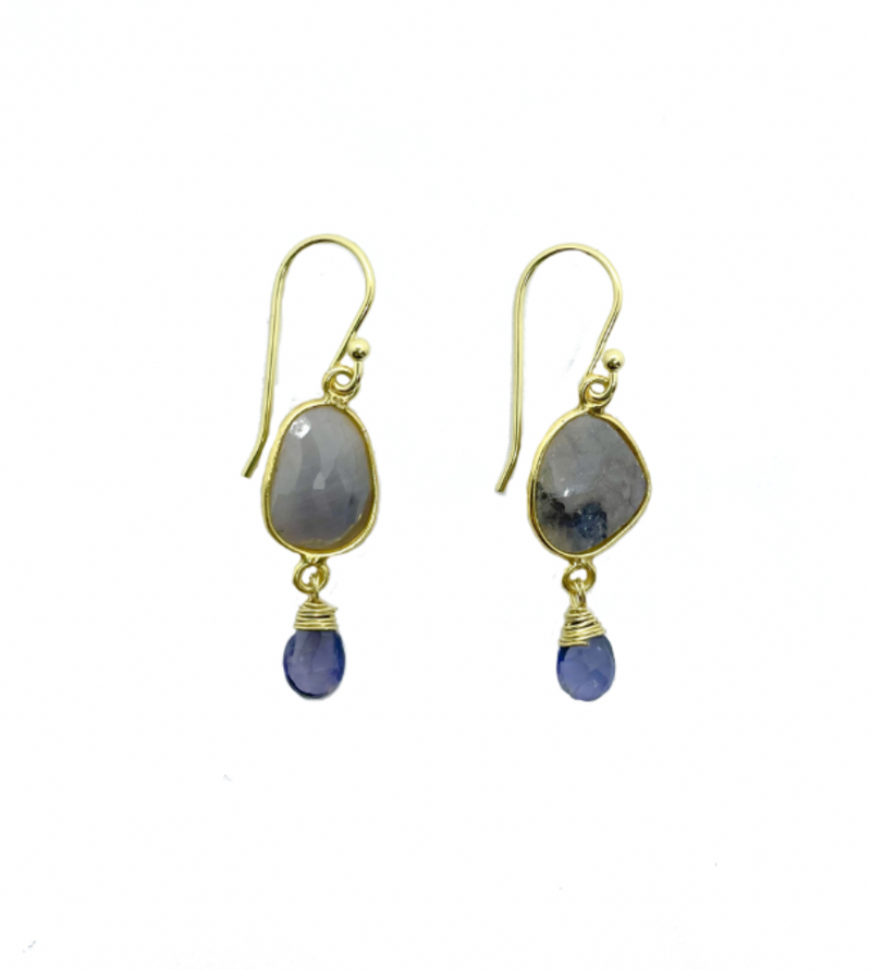 Grey Sapphire & Iolite Drop Earrings