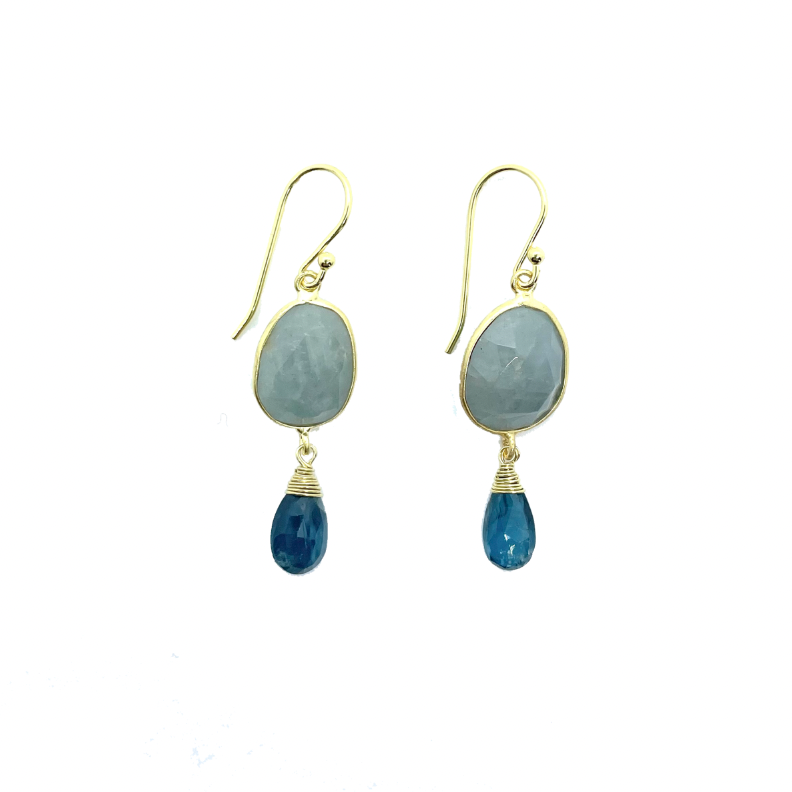 Aquamarine & London Blue Topaz Drop Earrings
