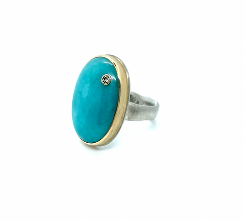 Jamie Joseph Amazonite & Diamond Ring