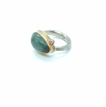 Jamie Joseph Teardrop Moss Aquamarine Ring with Satellite Diamond