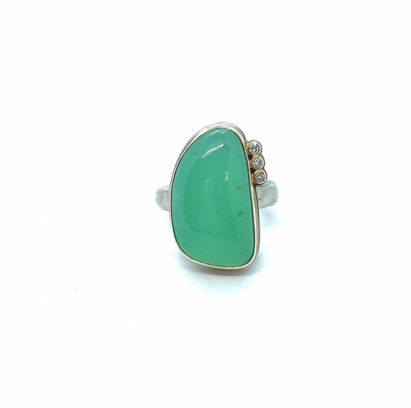 Jamie Joseph Chrysoprase & Satellite Diamond Ring