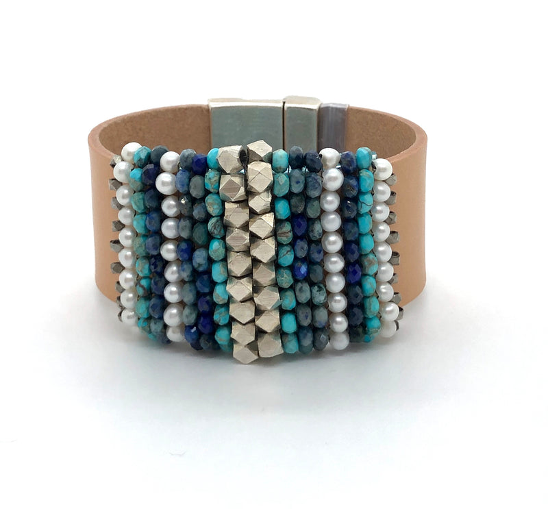 Azurite & Pearl Leather Cuff