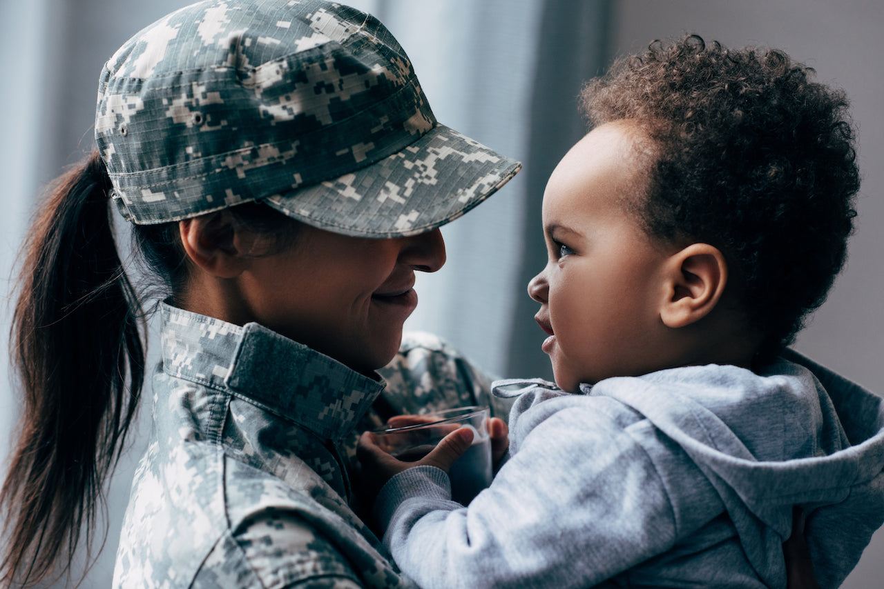 military parent with baby