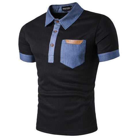 Men's Denim Pocket & Collar Polo Shirt - 2 Colors-Men's Polo Shirts-Ambitious Athletic Goods