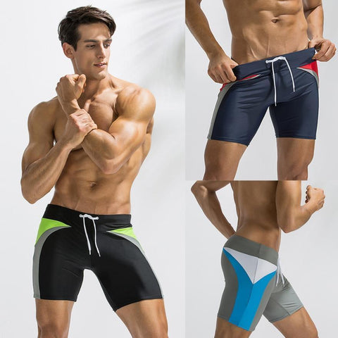 Men's Patchwork Hips Competitive Swimsuit - 3 Colors-Men's Competitive Swimsuits-Ambitious Athletic Goods