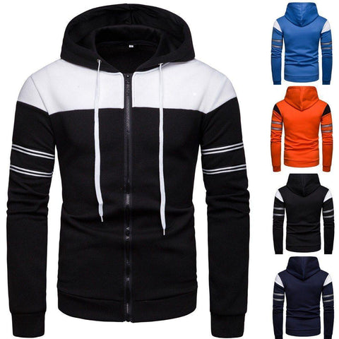 Men's Patchwork & Stripes Zip Up Hoodie - 4 Colors-Men's Zip Up Jackets-Ambitious Athletic Goods