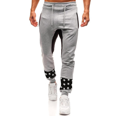 Men's Patchwork With Stars Jogger Sweatpants - 1 Color-Men's Jogger Sweatpants-Ambitious Athletic Goods