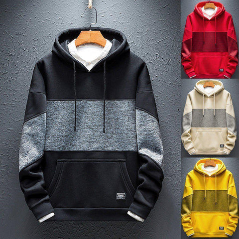 Men's Single Stripe Pullover Hoodie - 4 Colors-Men's Hoodies-Ambitious Athletic Goods