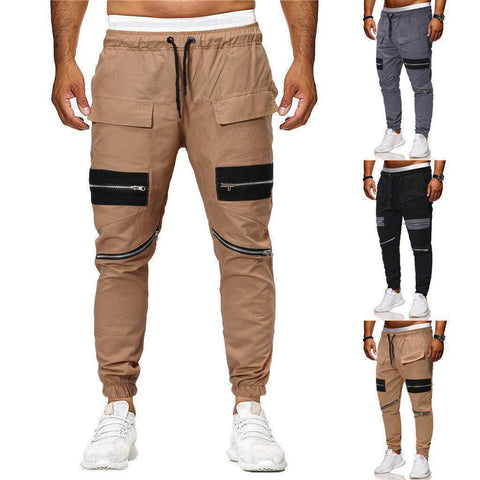 Men's Solid Color Jogger Sweatpants With Zippers - 3 Colors-Men's Jogger Sweatpants-Ambitious Athletic Goods