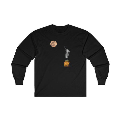 Men's Statue Of Babe Ruth Long Sleeve Shirt - Exclusive A.A.G. Design - 17 Colors-Men's Long Sleeve Shirts-Ambitious Athletic Goods