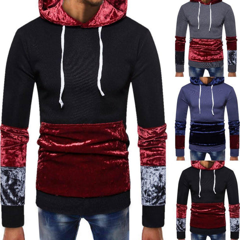 Men's Velvet Patchwork Pullover Hoodie - 3 Colors-Men's Hoodies-Ambitious Athletic Goods