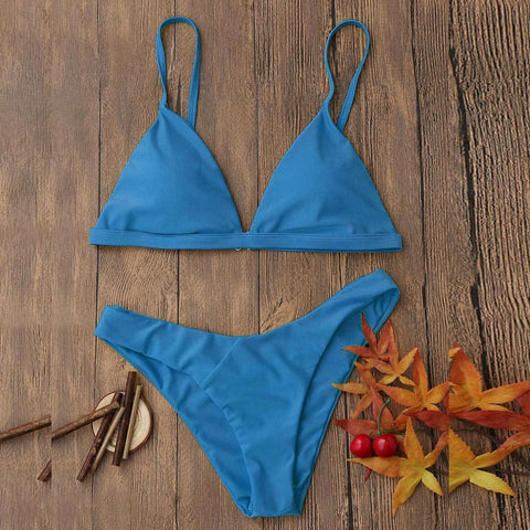 Women's Bikini Swimsuit Set | Fixed Top & Basic Bottoms | 3 Colors-Women's Bikini Swimsuits-Ambitious Athletic Goods