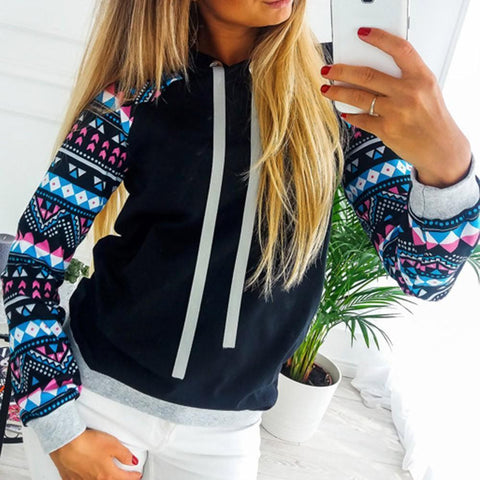 Women's Floral & Geometric Sleeves Pullover Hoodie - 2 Colors-Women's Hoodies-Ambitious Athletic Goods