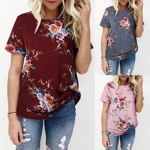 Women's Floral T-Shirt - 5 Colors-Women's T-Shirts-Ambitious Athletic Goods