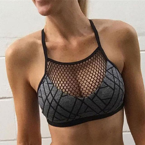 Women's Geometric Sports Bra With Mesh - 1 Color-Women's Sports Bras-Ambitious Athletic Goods
