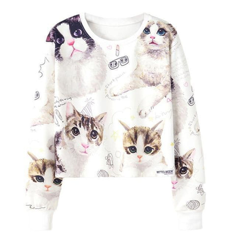 Women's Kittens & Fashion Sweatshirt - 1 Color-Women's Sweatshirts-Ambitious Athletic Goods