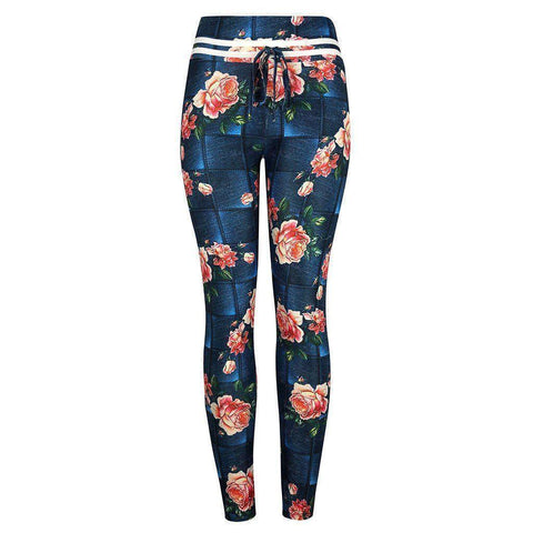Women's Leggings | High Waist Spandex Blend Floral Design With Drawstrings | 1 Color-Women's Leggings-Ambitious Athletic Goods