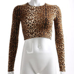 Women's Leopard Print Crop Top Long Sleeve Shirt - 1 Color-Women's Long Sleeve Shirts-Ambitious Athletic Goods