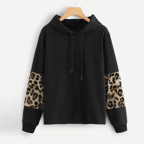 Women's Leopard Print Patchwork Pullover Hoodie - 1 Color-Women's Hoodies-Ambitious Athletic Goods
