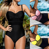Women's One Piece Swimsuit | Wire Free Mesh Patchwork With Pads | 3 Colors-Women's One Piece Swimsuits-Ambitious Athletic Goods