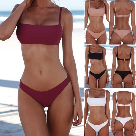 Women's Solid Bikini Swimsuit | Wire Free Top With Pads | 4 Colors-Women's Bikini Swimsuits-Ambitious Athletic Goods