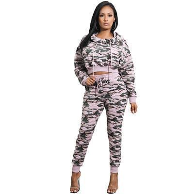Women's Tracksuit Set | Camouflage Crop Top Hoodie & Jogger Sweatpants | 3 Colors-Women's Tracksuit Sets-Ambitious Athletic Goods