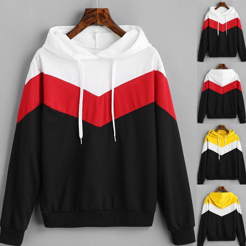 Women's Two Tone With Stripe Pullover Hoodie - 2 Colors-Women's Hoodies-Ambitious Athletic Goods