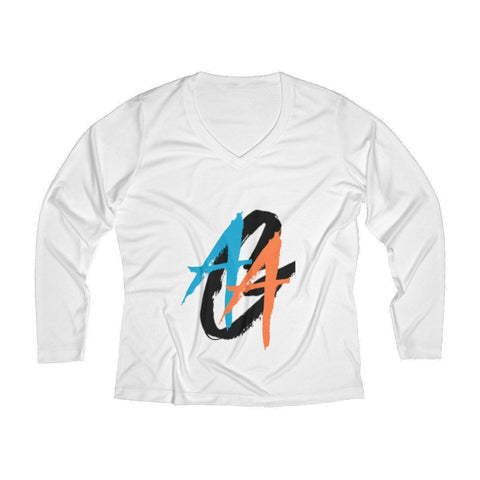 Women's V-Neck Long Sleeve Shirt | Dri-Fit | A.A.G. Exclusive Design - Black Logo | 7 Colors-Women's Long Sleeve Shirts-Ambitious Athletic Goods