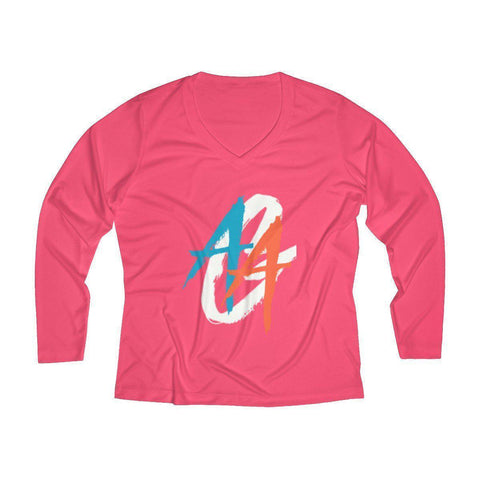Women's V-Neck Long Sleeve Shirt | Dri-Fit | A.A.G. Exclusive Design - White Logo | 7 Colors-Women's Long Sleeve Shirts-Ambitious Athletic Goods