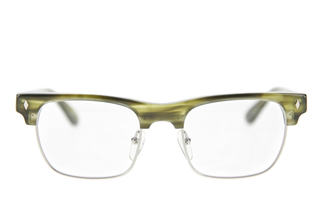 Tres Noir Watson Clear Green Horn Silver Rim Clear CR-39 Front