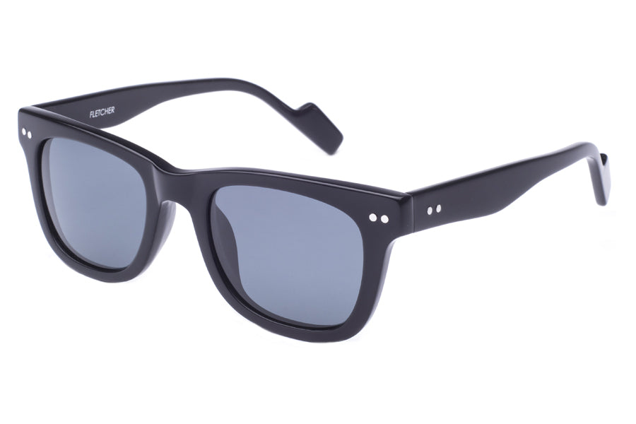 Crimson Visual : Fletcher - Black Acetate / Polarized Smoke Lens