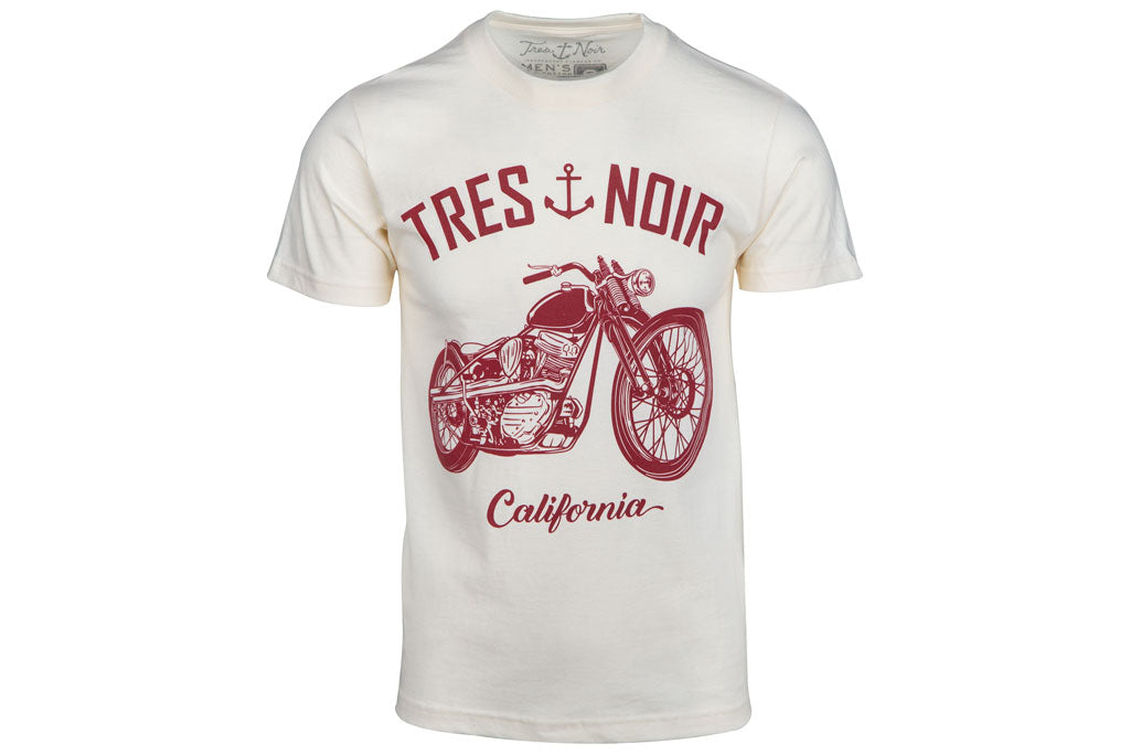 White T-Shirt With Red Tres Noir Lettering And Motorcycle