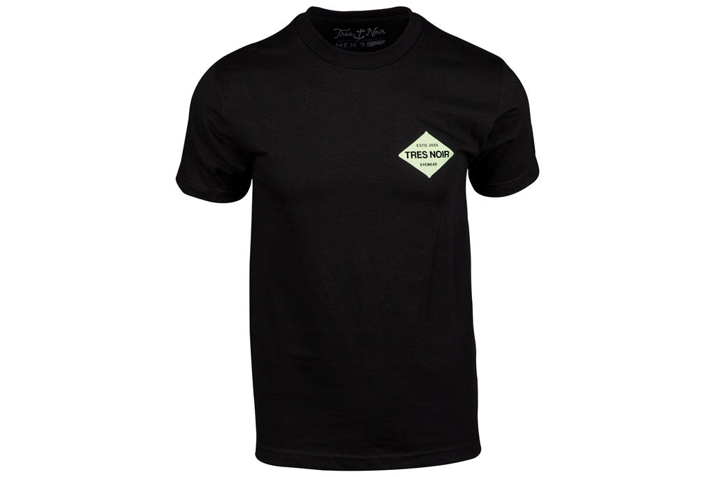 Black T-Shirt Front With White Tres Noir Established Logo