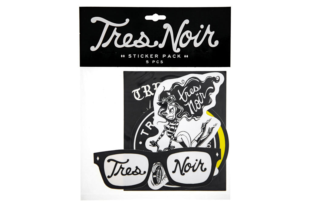 Tres Noir 5pc Sticker Pack w/ Packaging