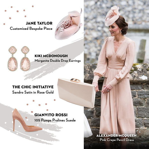 Duchess of Cambridge Kate Middleton The Chic Initiative Sandro Satin Clutch in Rose Gold