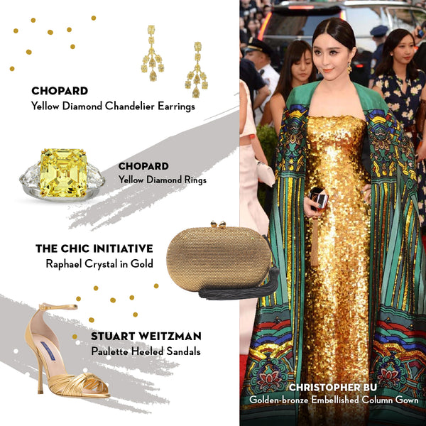 Fan Bing Bing The Chic Initiative Raphael Clutch in Gold