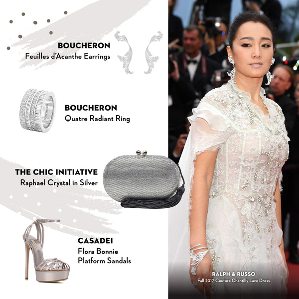 Gong Li The Chic Initiative Raphael Crystal Clutch in Silver