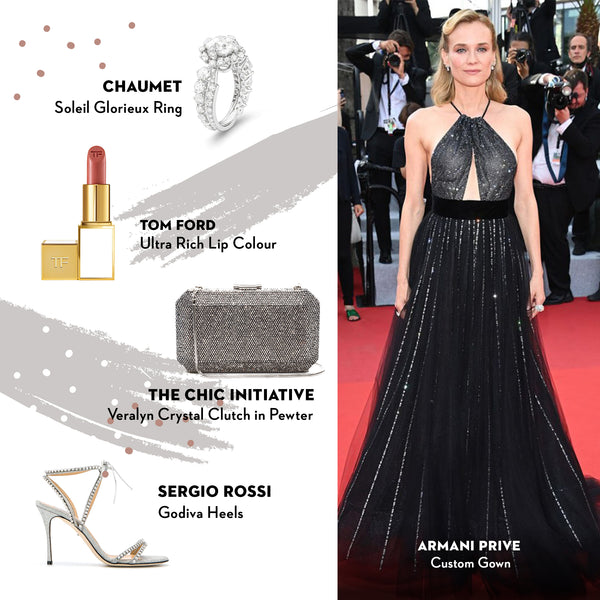 Diane Kruger | Veralyn Crystal Clutch in Pewter | The Chic Initiative | Malaysia
