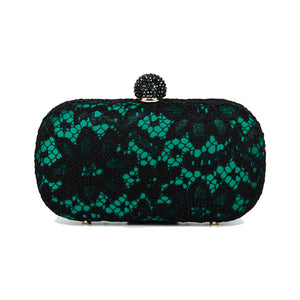 Carmen Lace Clutch in Green 1 | The Chic Initiative | Malaysian label of specially designed clutches, evening bags and minaudieres | Free shipping to Malaysia Singapore Brunei